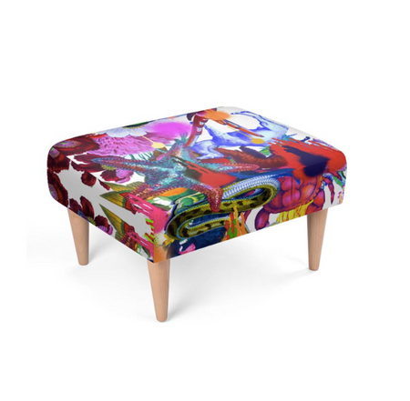 BUTTERFLY BOTTOM PAINT FOOTSTOOL-