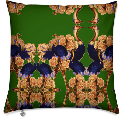 OSTRICH PEONIES MEDIUM CUSHION - VERTE