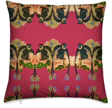 OSTRICH PEONIES SILK CUSHION-JADE