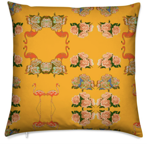 FLAMINGO PEONIES MEDIUM CUSHION - BURNT ORANGE