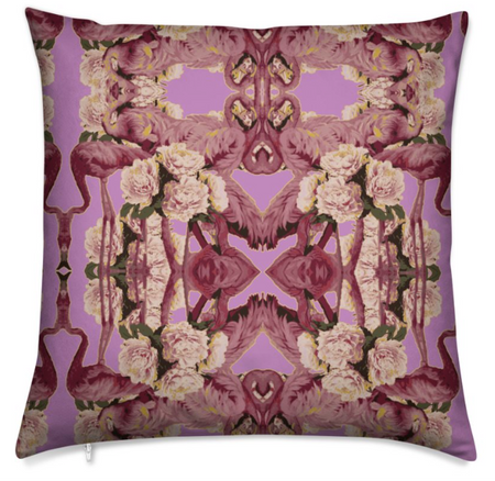 FLAMINGO PEONIES SILK CUSHION