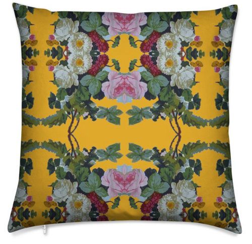 JARDIN DE FLEUR MEDIUM CUSHION -OCHRE