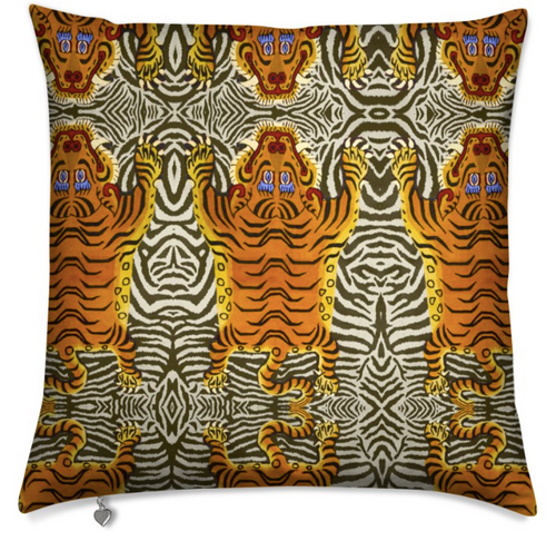 TIBETAN STRIPES MEDIUM CUSHION - STRIPES