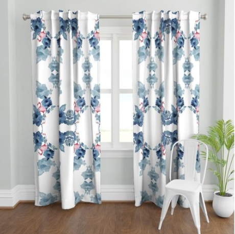 BEGONIAS FLAMINGO LINEN CURTAIN