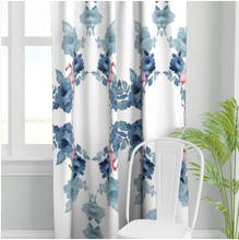 Load image into Gallery viewer, BEGONIAS FLAMINGO LINEN CURTAIN