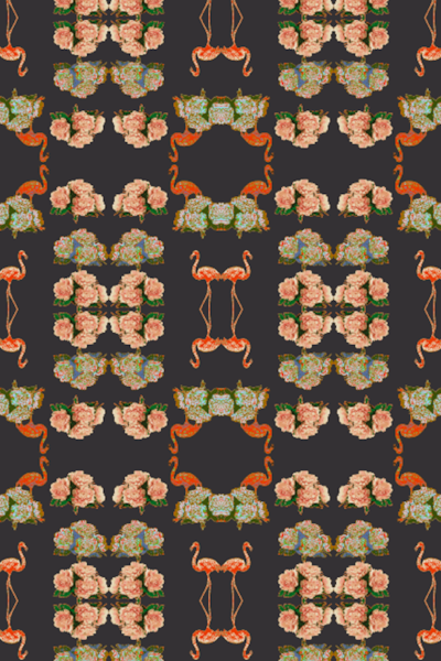 MAKAKU PEONIES ECO CANVAS FABRIC-PETROL
