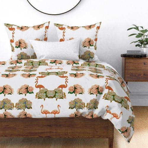 FLAMINGO PEONIES DUVET COVER
