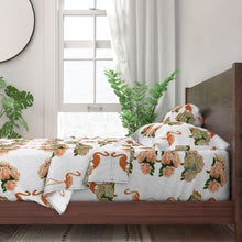 Load image into Gallery viewer, FLAMINGO PEONIES DUVET COVER