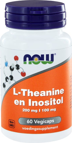 NOW L-Theanine 200 mg en Inositol 100 mg 60 vcaps