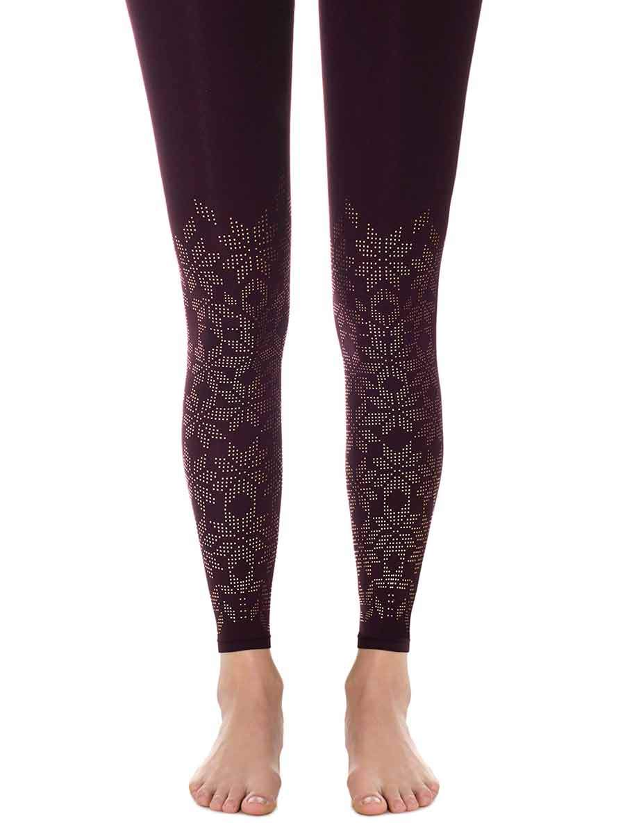 Lace Flower Aubergine Footless Tights