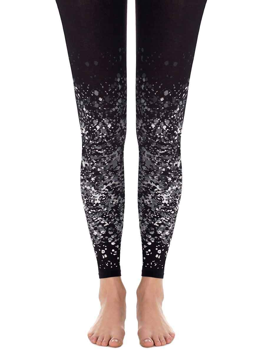 Paint Splash Black Footless Tights