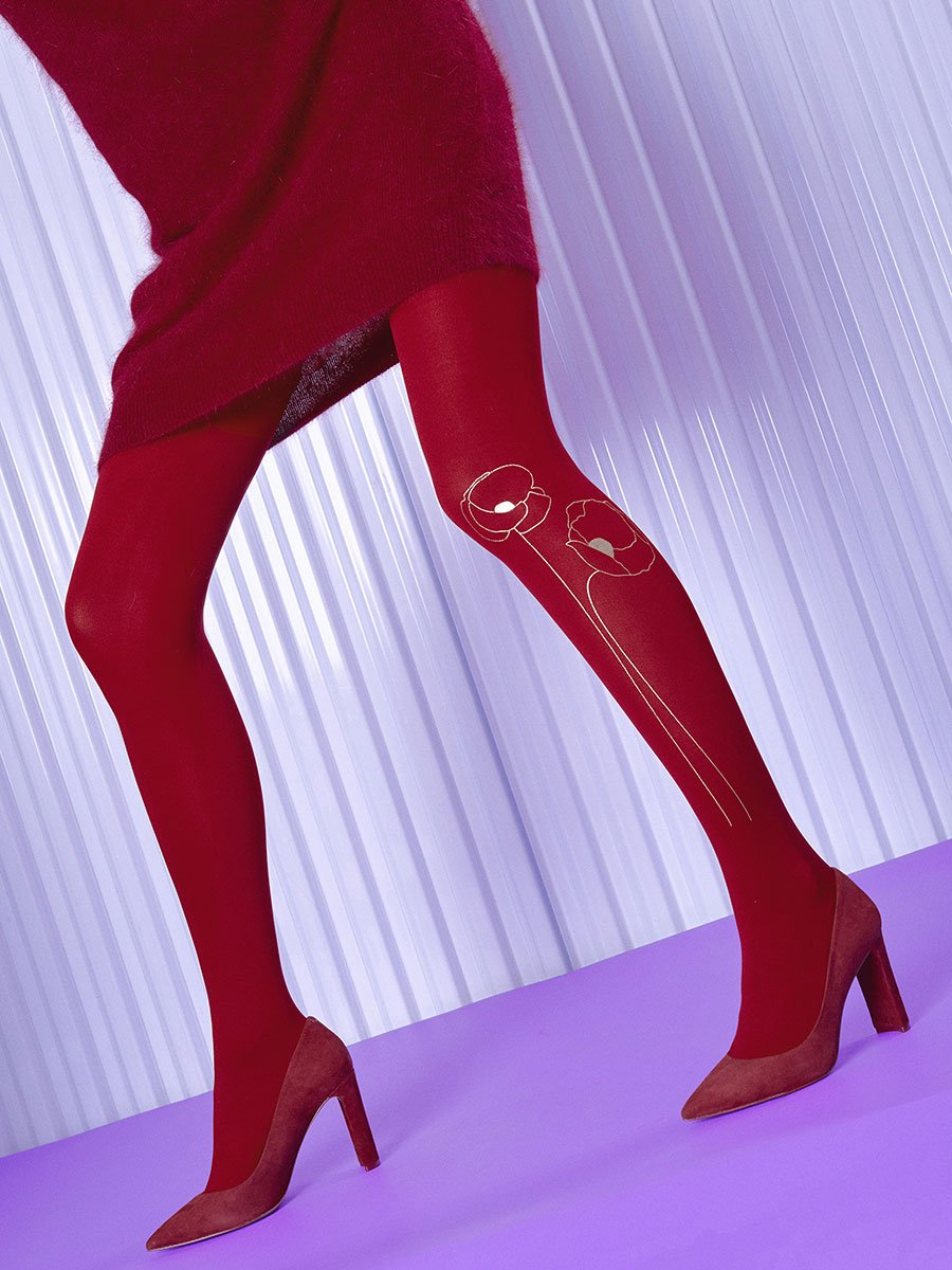 Poppy Seed Red Tights