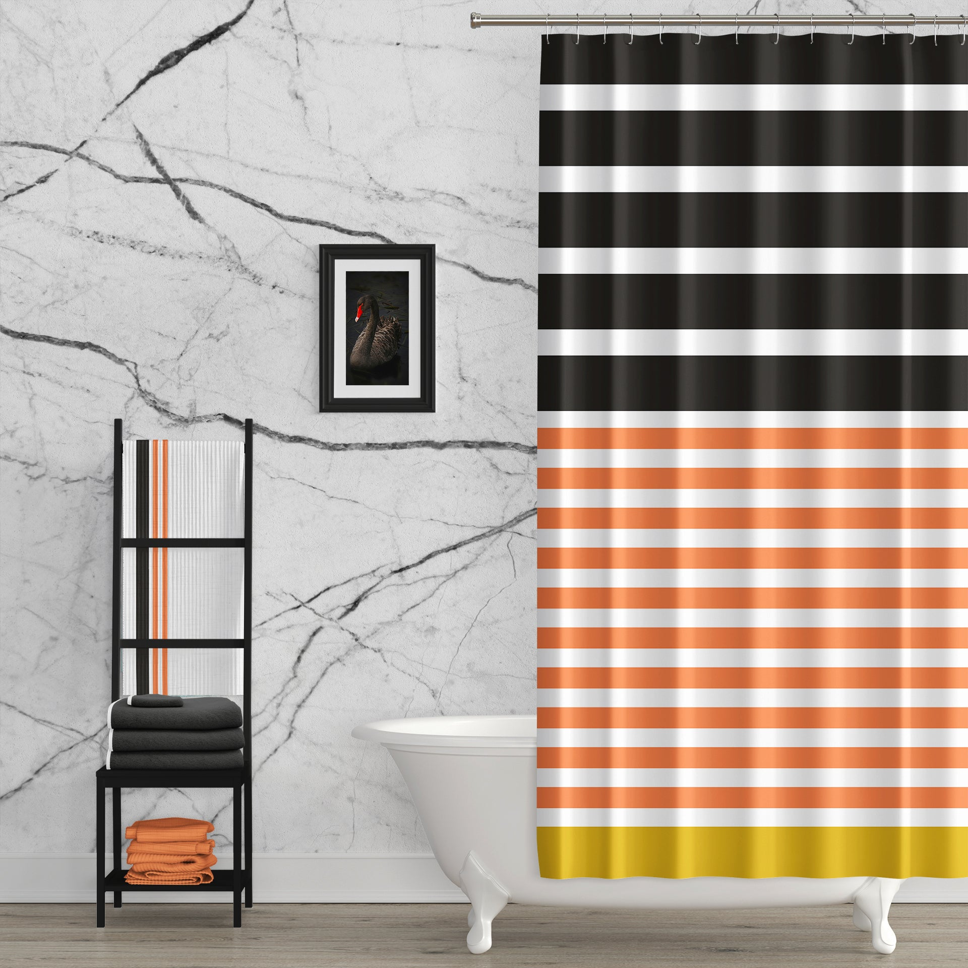 Just Peachy Black Peach Gold Fabric Shower Curtain