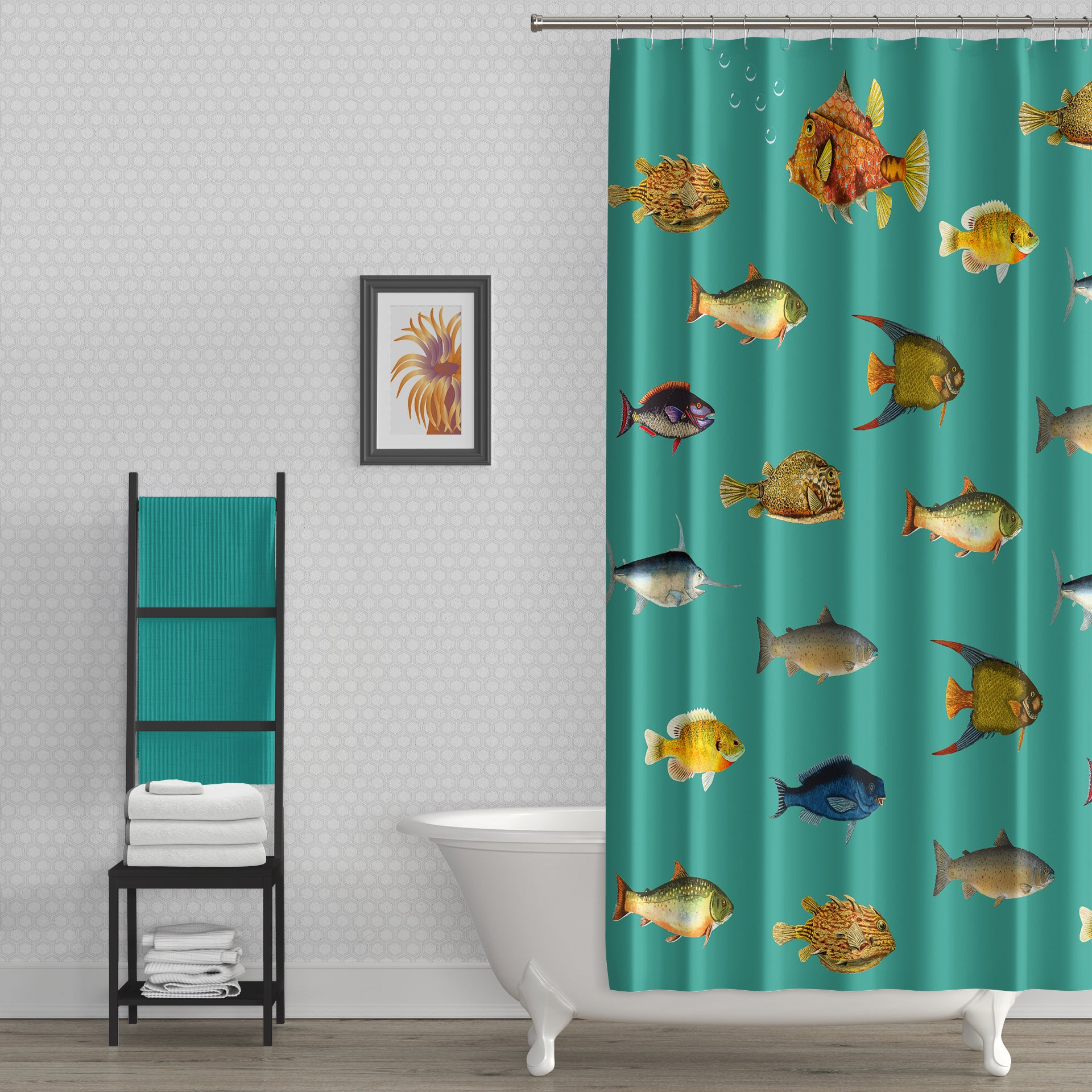 Rebel Fin Retro Teal Blue Fabric Shower Curtain Goodsnark