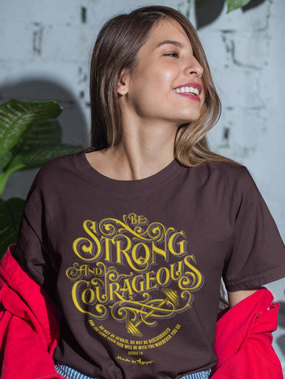 Be Strong And Courageous - Cozy Fit Short Sleeve Tee-Made In Agapé