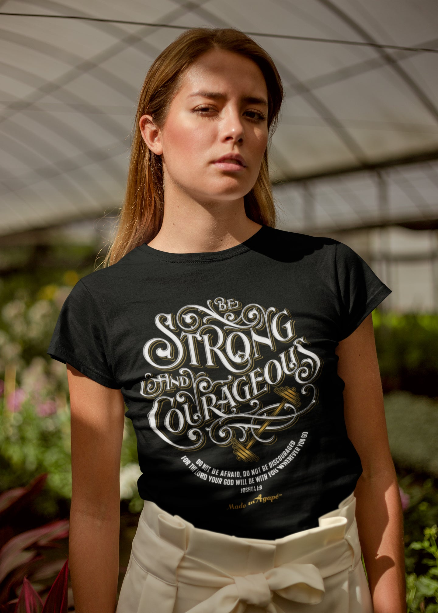 Be Strong And Courageous - Ladies' Fit Tee-Made In Agapé