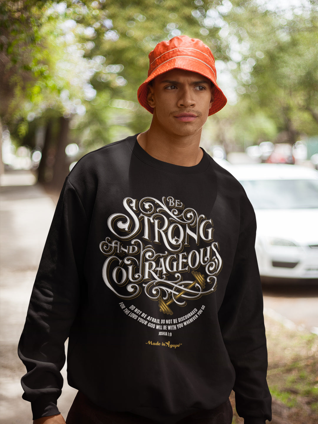 Be Strong And Courageous - Men's Sweatshirt-Made In Agapé