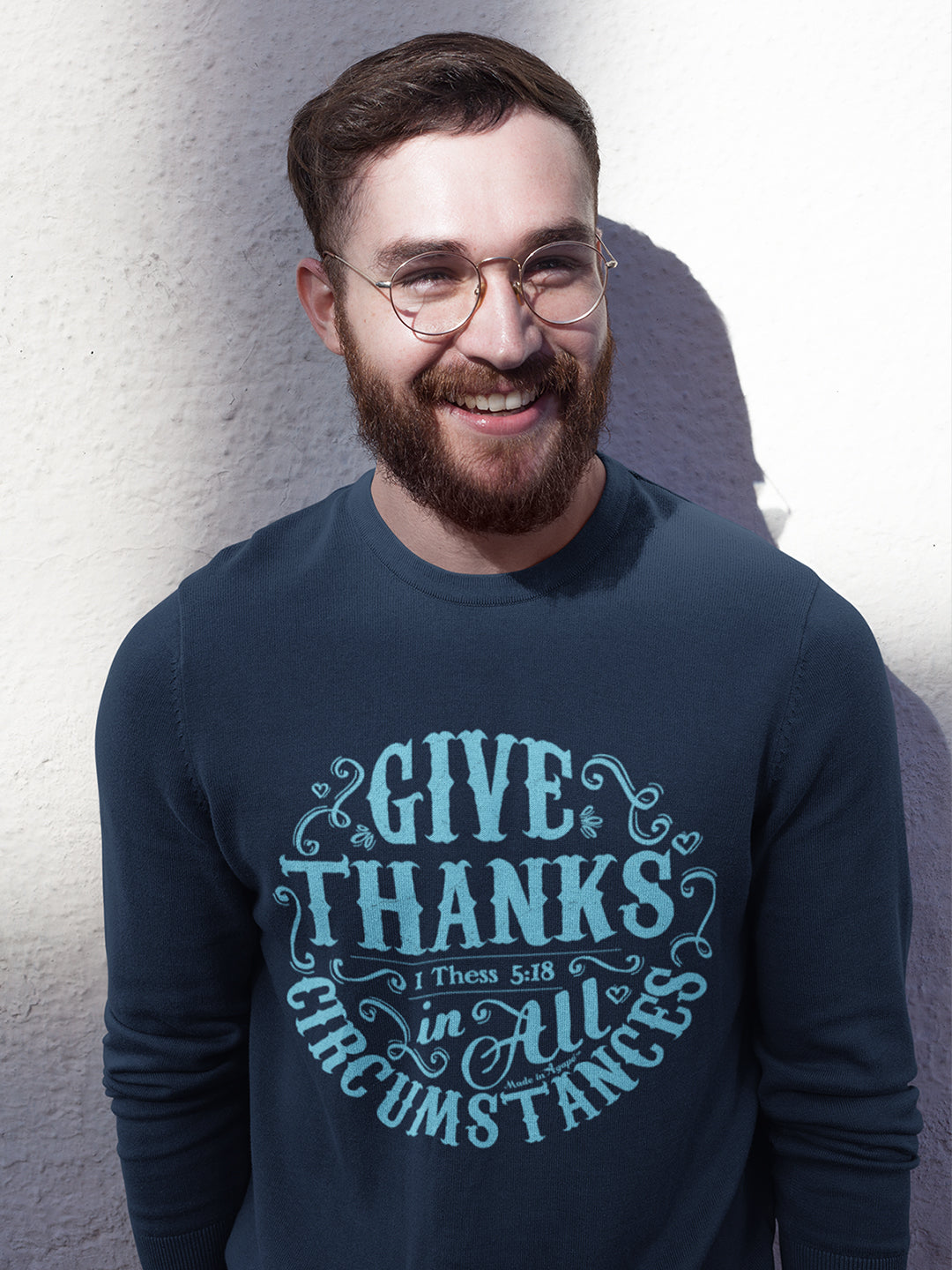 Give Thanks In All Circumstances - Men's Sweatshirt-Made In Agapé