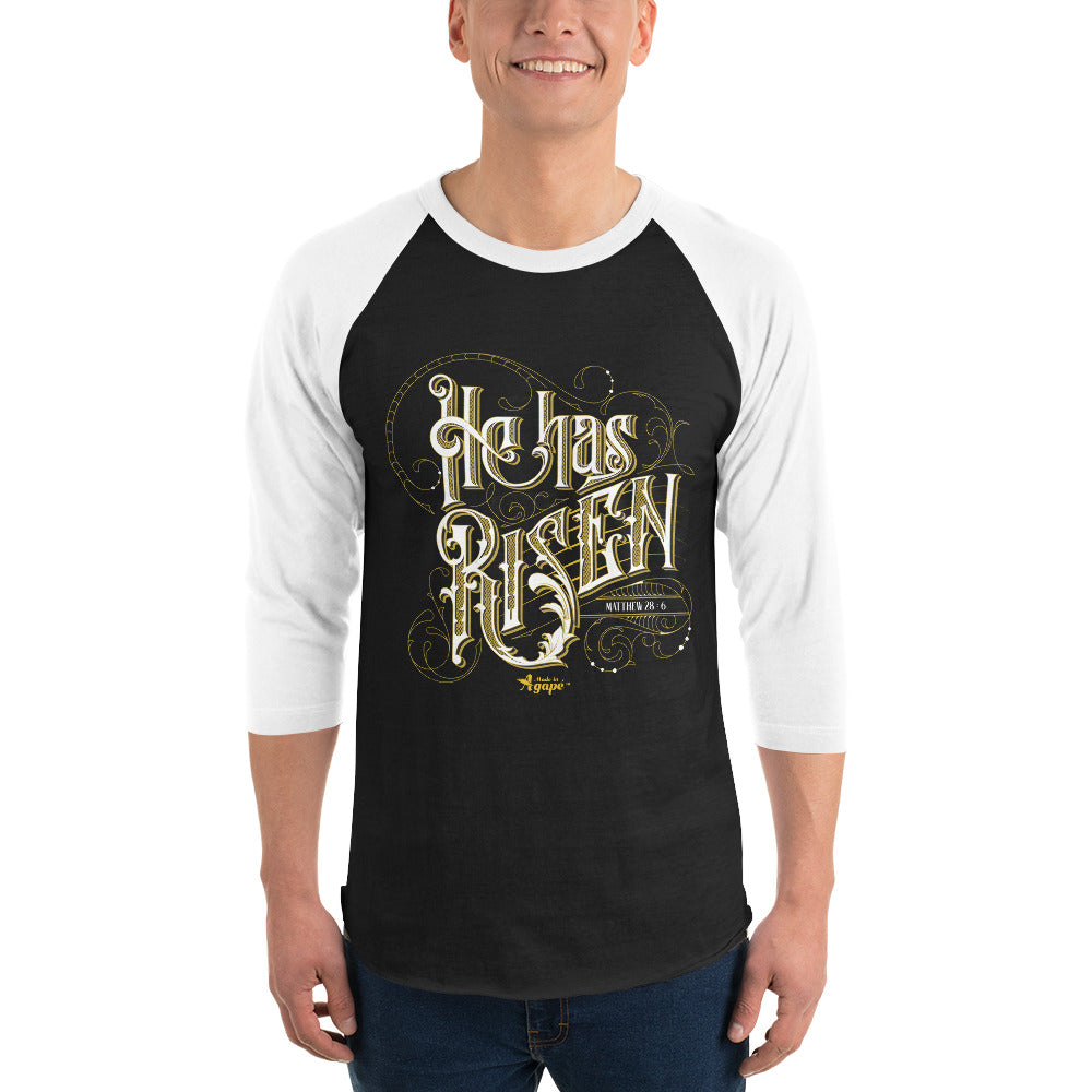 He Has Risen - Unisex 3/4 Sleeve Raglan Baseball Tee-Made In Agapé