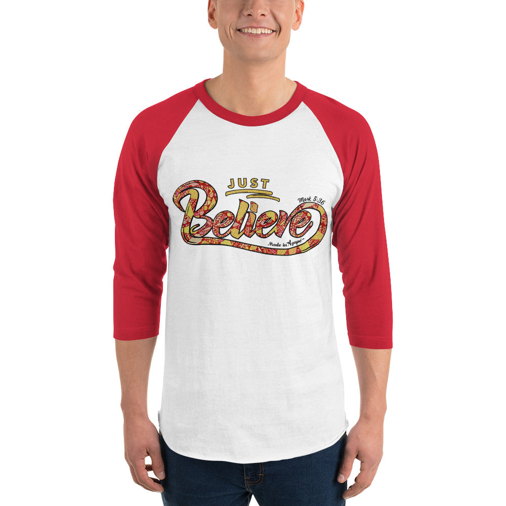 Just Believe - Unisex 3/4 Sleeve Raglan Baseball Tee-Made In Agapé