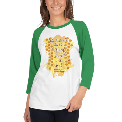 Kind Words Are Like Honey - Unisex 3/4 Sleeve Raglan Baseball Tee-Made In Agapé