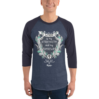 Lord Is My Strength And Shield - Unisex 3/4 Sleeve Raglan Baseball Tee-Made In Agapé