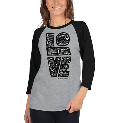 Love Is Patient - Unisex 3/4 Sleeve Raglan Baseball Tee-Made In Agapé