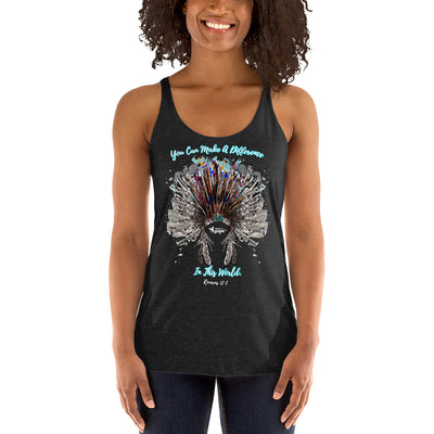 Make A Difference In This World - Ladies' Triblend Racerback Tank-Made In Agapé