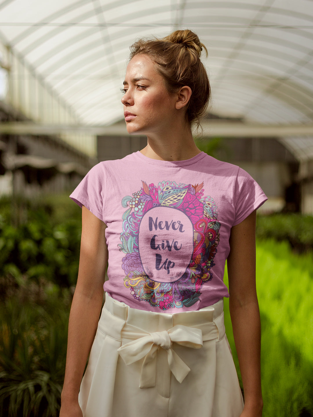 Never Give Up - Ladies' Fit Tee-Made In Agapé