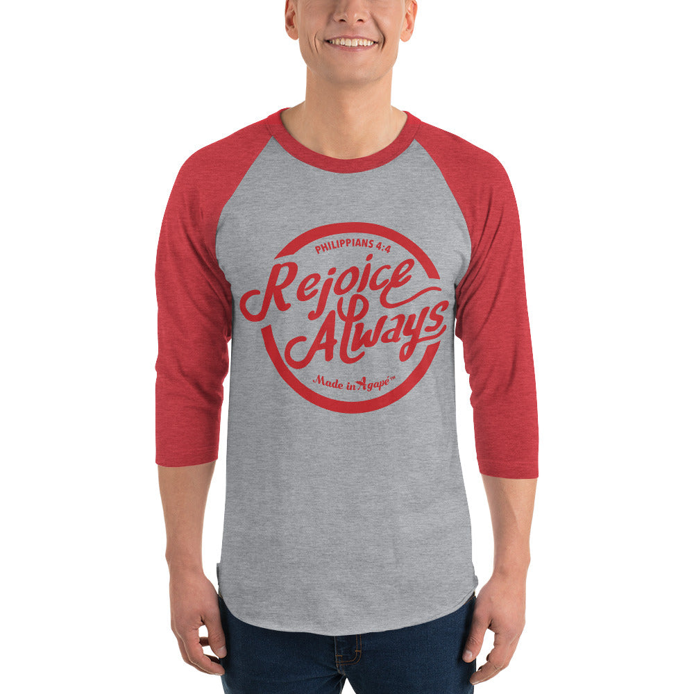 Rejoice Always - Unisex 3/4 Sleeve Raglan Baseball Tee-Made In Agapé