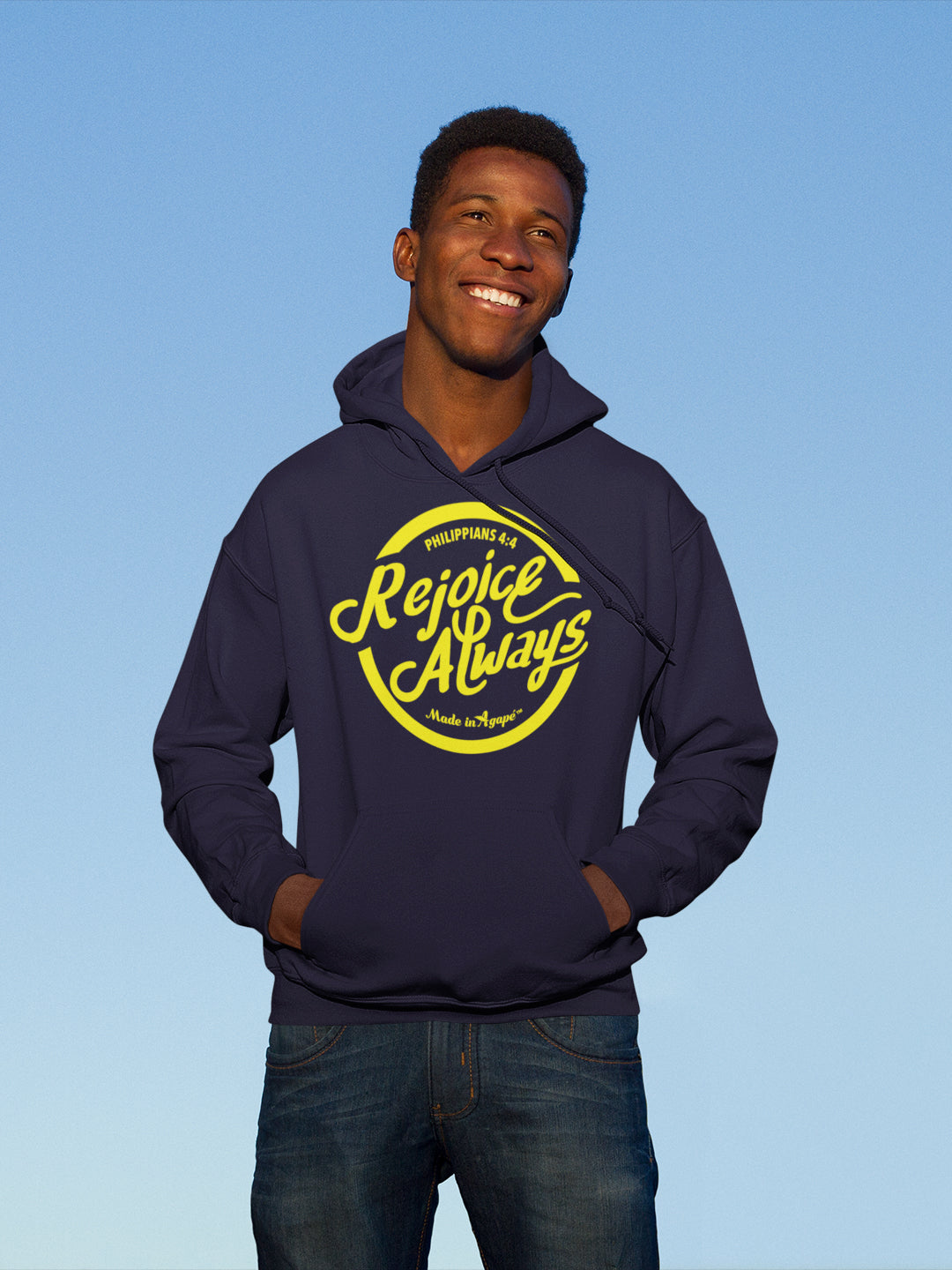 Rejoice Always - Men's Hoodie-Made In Agapé