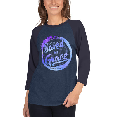 Saved By Grace - Unisex 3/4 Sleeve Raglan Baseball Tee-Made In Agapé
