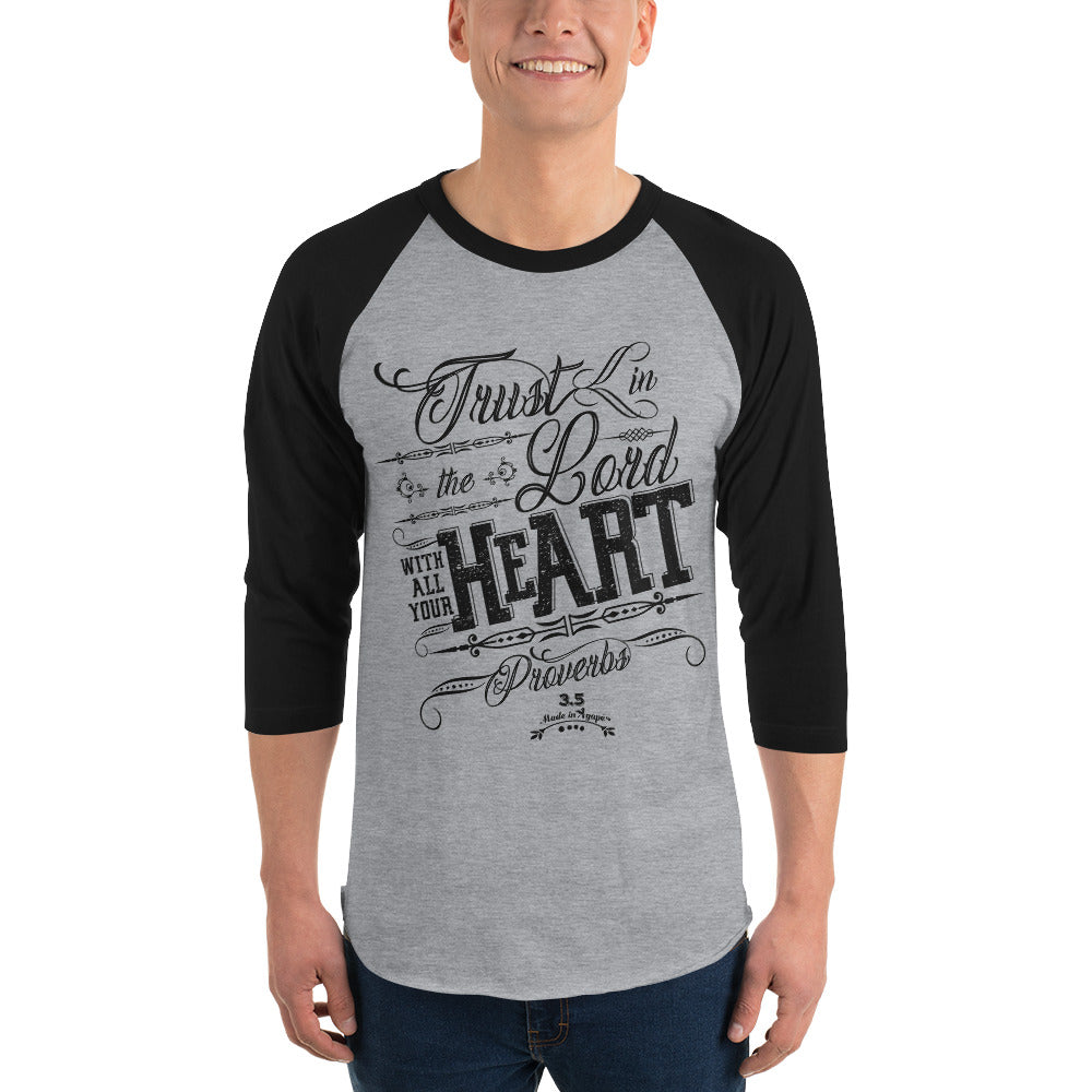 Trust In the Lord - Unisex 3/4 Sleeve Raglan Baseball Tee-Made In Agapé