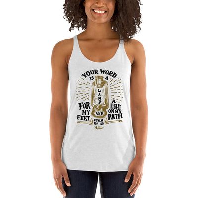 Lamp For Feet And Light On Path - Ladies' Triblend Racerback Tank-Made In Agapé