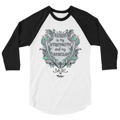 Lord Is My Strength And Shield - Unisex 3/4 Sleeve Raglan Baseball Tee-White/Black-XS-Made In Agapé