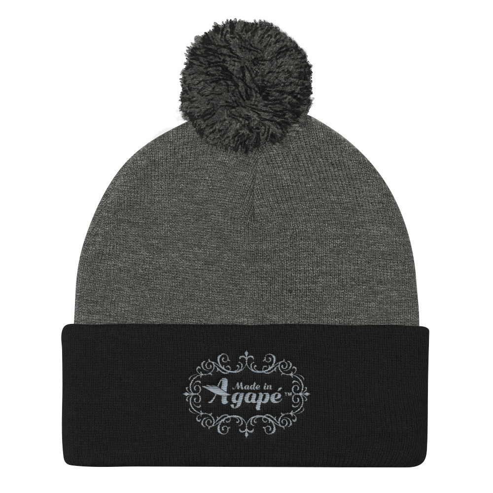 Made In Agapé™ - Pom Pom Knit Beanie-Dark Heather Grey/ Black-Made In Agapé