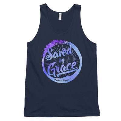Saved By Grace - Unisex Tank-Navy-XS-Made In Agapé