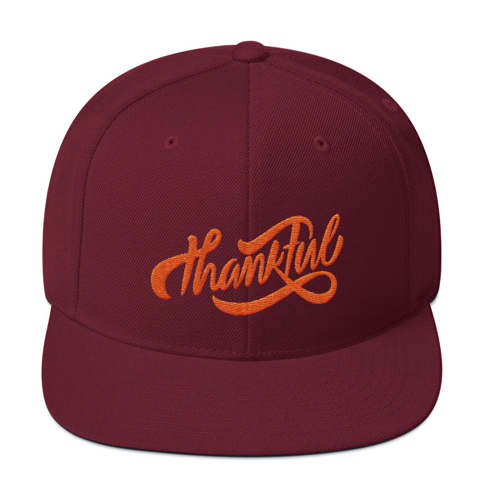 Thankful - Snapback Hat-Maroon-Made In Agapé