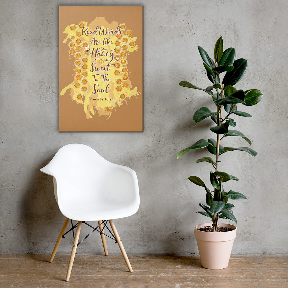 Kind Words Like Honey - Canvas Wall Art-24×36-Made In Agapé