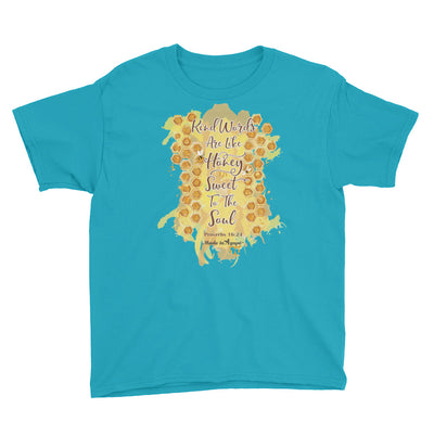 Kind Words Are Like Honey - Youth Short Sleeve Tee-Caribbean Blue-XS-Made In Agapé