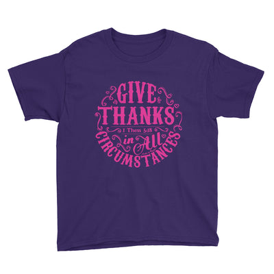 Give Thanks In All Circumstances - Youth Short Sleeve Tee-Purple-XS-Made In Agapé