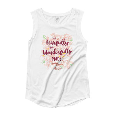 Fearfully And Wonderfully Made - Ladies' Cap Sleeve-White-S-Made In Agapé