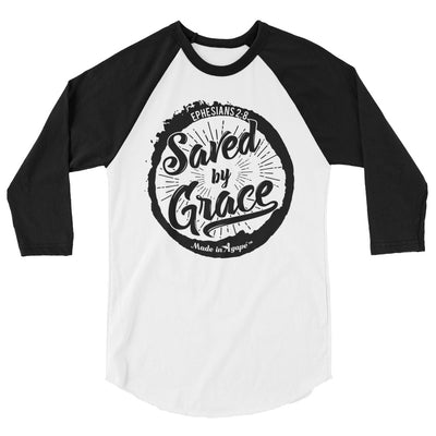 Saved By Grace - Unisex 3/4 Sleeve Raglan Baseball Tee-White/Black-XS-Made In Agapé