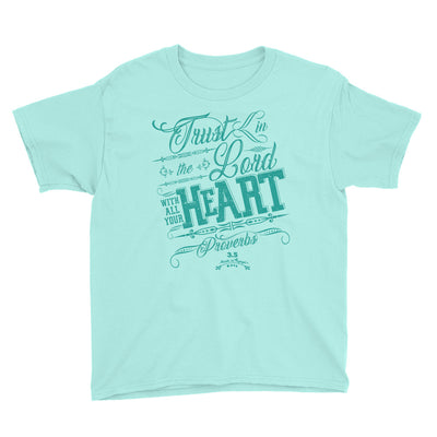 Trust In The Lord - Youth Short Sleeve Tee-Teal Ice-S-Made In Agapé