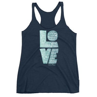 LOVE Is Patient - Ladies' Triblend Racerback Tank-Vintage Navy-XS-Made In Agapé