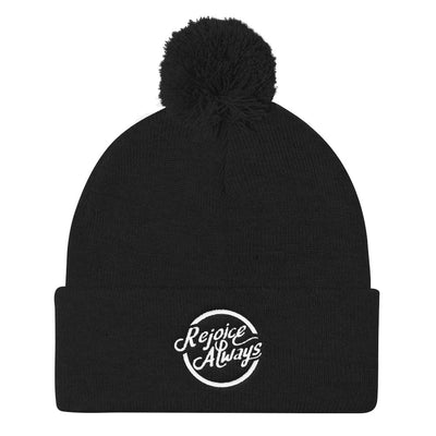 Rejoice Always - Pom Pom Knit Beanie-Black-Made In Agapé