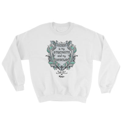 Lord Is My Strength And Shield - Women's Sweatshirt-White-S-Made In Agapé