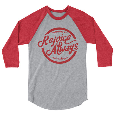Rejoice Always - Unisex 3/4 Sleeve Raglan Baseball Tee-Heather Grey/Heather Red-XS-Made In Agapé