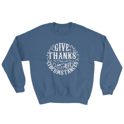 Give Thanks In All Circumstances - Women's Sweatshirt-Indigo Blue-S-Made In Agapé