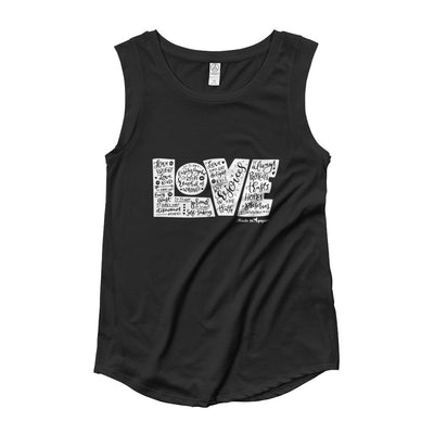 LOVE Protects - Ladies' Cap Sleeve-Black-S-Made In Agapé